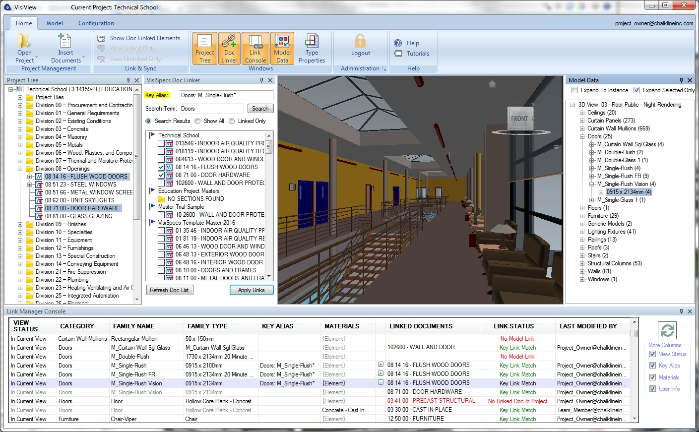 VisiView provides a visual view of the model and data for linking, editing, coordination, and verification of the entire project.