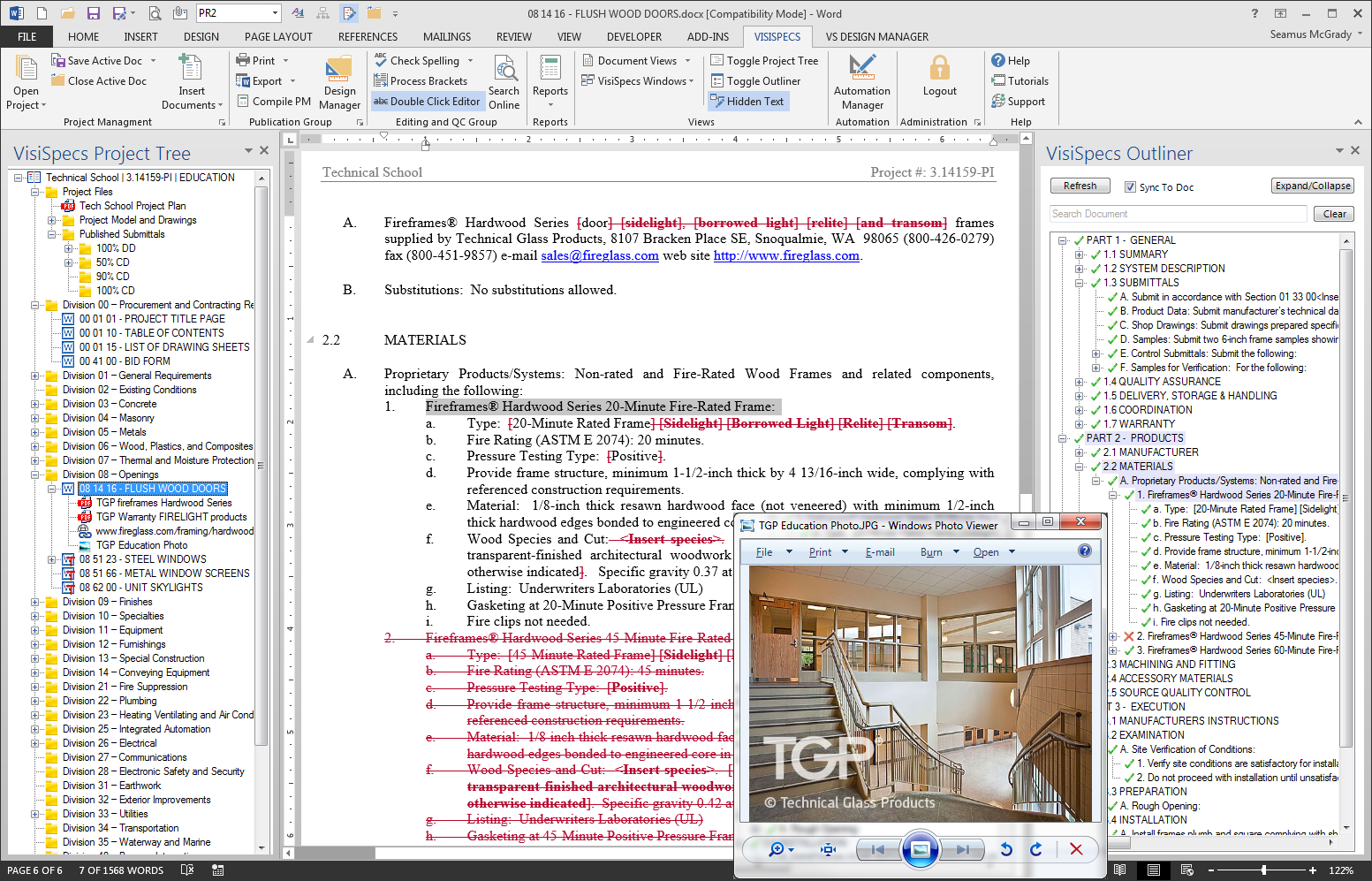 VisiWord leverages the feature rich editing of Microsoft Word with advanced spec editing tools, centralized documentation management, and project manual publication.